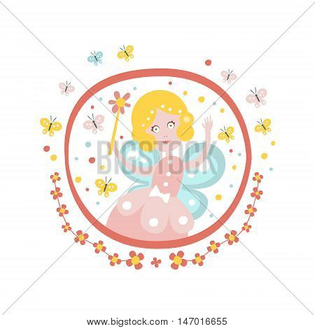 Fairy Godmother Fairy Tale Character Girly Sticker In Round Frame In Childish Simple Design Isolated On White Background