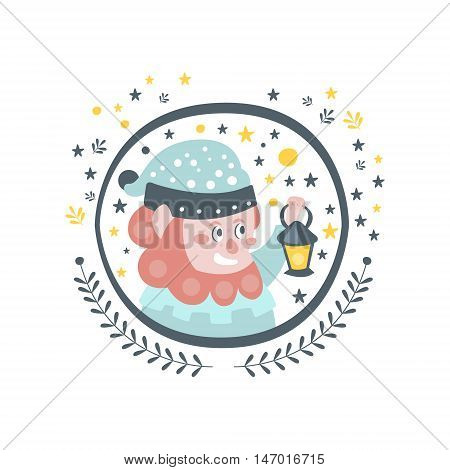 Gnome Fairy Tale Character Girly Sticker In Round Frame In Childish Simple Design Isolated On White Background