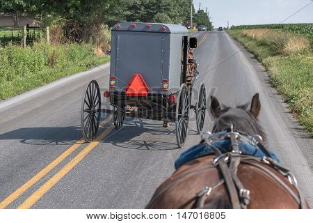 Wagon Buggy In Lancaster Pennsylvania Amish Country