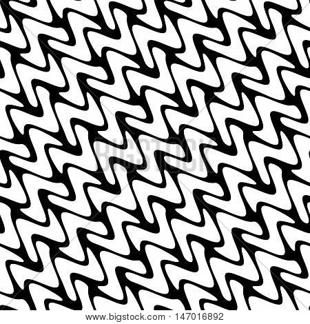 Repeating black and white diagonal line stripe wave seamless pattern
