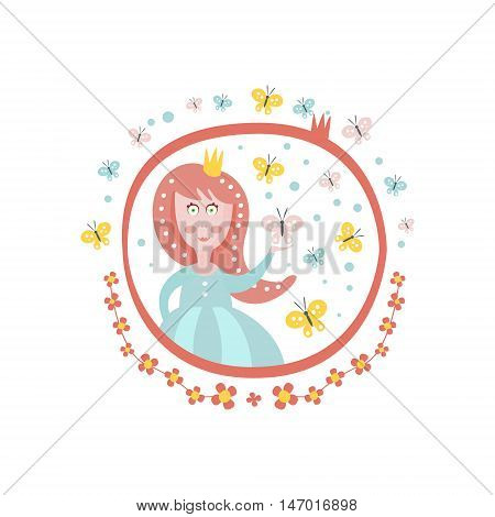 Crowned Princess Fairy Tale Character Girly Sticker In Round Frame In Childish Simple Design Isolated On White Background