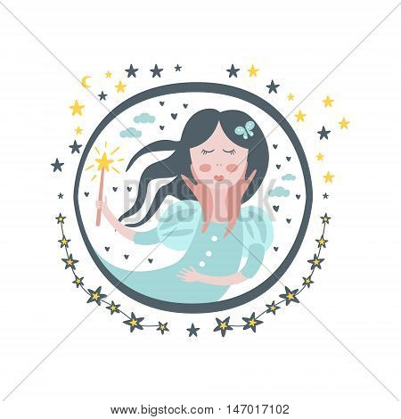 Good Witch Fairy Tale Character Girly Sticker In Round Frame In Childish Simple Design Isolated On White Background