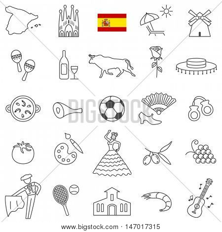 Spain  travel  line icons and culture symbols. Vector set