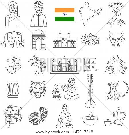 India  travel  line icons and culture symbols. Vector set