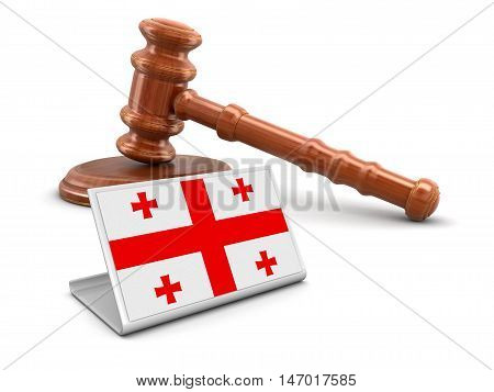 3D Illustration. 3d wooden mallet and Georgian flag. Image with clipping path
