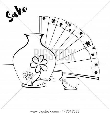 Sketch bottle of sake two small cups of sake. Vector illustration.
