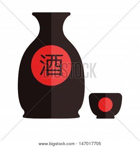Bottle of sake small cup of sake isolated on white background. Vector illustration. Flat design. Translation hieroglyph: sake.