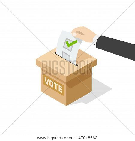 Voting vector illustration isolated on white background, man hand holding political ballot putting in vote box, concept of election choice or vote, poll