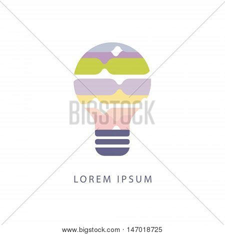 Stipes Inside Idea Bulb Abstract Design Pastel Icons. Electric Bulb Shape Filled With Patterns As Creative Thinking Symbol.