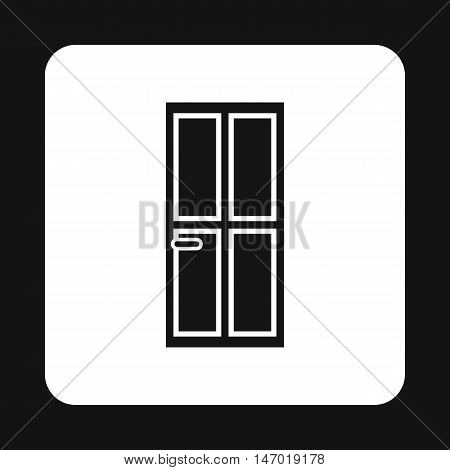 Steel entry door icon in simple style isolated on white background. Interior symbol vector illustration