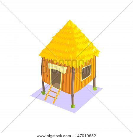 Little Elevated Wooden Hut Jungle Village Landscape Element. Cool Colorful Vector Illustration In Stylized Geometric Cartoon Design