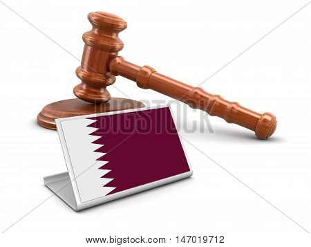 3D Illustration. 3d wooden mallet and Qatar flag. Image with clipping path