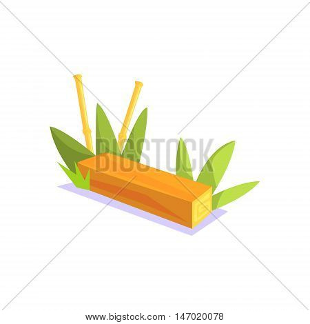 Wooden Bench Jungle Village Landscape Element. Cool Colorful Vector Illustration In Stylized Geometric Cartoon Design
