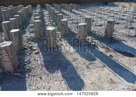 Reinforced concrete piles on the construction site