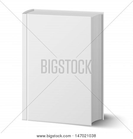 Blank vertical book with hard cover template standing. Closeup perspective view. vector