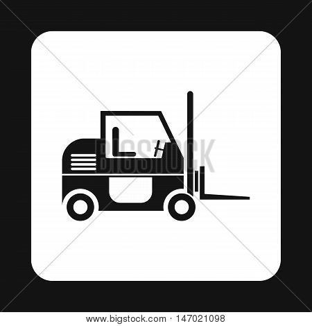 Forklift icon in simple style isolated on white background. Cargo transport symbol vector illustration
