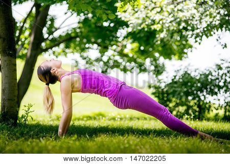 Healthy life exercise concept - Woman doing Hatha yoga asana Purvottanasana plank pose outdoors