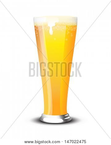 A pint of cold lager over a white background. EPS10 vector format.
