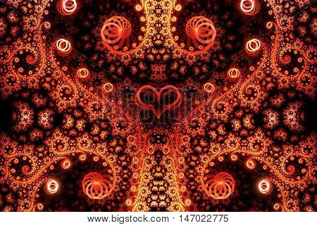 Abstract intricate spiral ornament on black background. Symmetrical pattern. Fantasy fractal design in bright red orange and yellow colors.