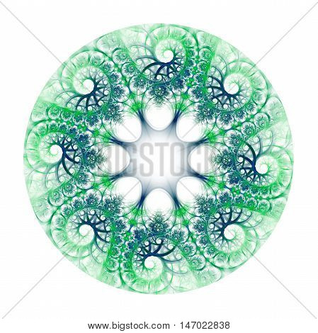 Abstract colorful flower wreath on white background. Symmetrical ornament in bight green colors. Fantasy fractal design for postcards wallpapers or clothes.