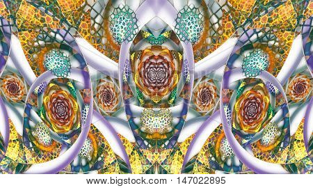 Abstract mosaic ornament with stylized flowers on white background. Symmetrical pattern. Fractal design in orange yellow green violet and blue colors.