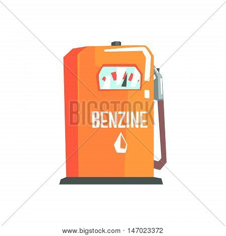 Petrol Station Fuel Filling Item Cool Colorful Vector Illustration In Stylized Geometric Cartoon Design