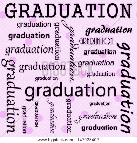 Graduation Design with Pink Polka Dot Tile Pattern Repeat Background that is seamless and repeats