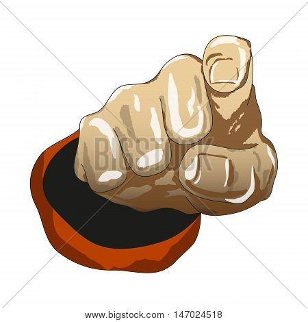 Cartoon drawing hand finder pointing straight up. Vector illustration.
