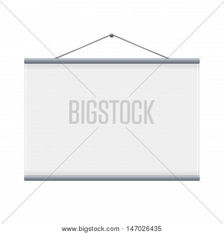 White blank projection screen for presentation or conference. Vector mock up
