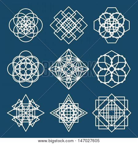 Isolated geometric ornaments set. Vector linear editable symbols