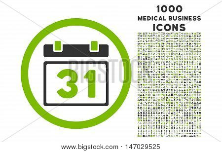 Last Month Day rounded vector bicolor icon with 1000 medical business icons. Set style is flat pictograms, eco green and gray colors, white background.