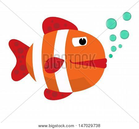 Fish with bubbles. Fish on a white background. Big Fish  cartoon vector illustration. Eps10. Isolated on a white background.