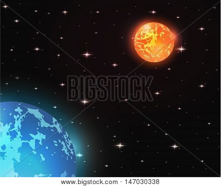 Space Vector illustration of planet Mars and Neptune with stars