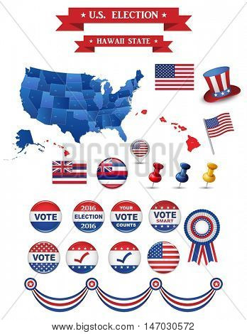 US Presidential Election 2016. Hawaii State. Including High Detailed Map of Hawaii Perfect for Election Campaign