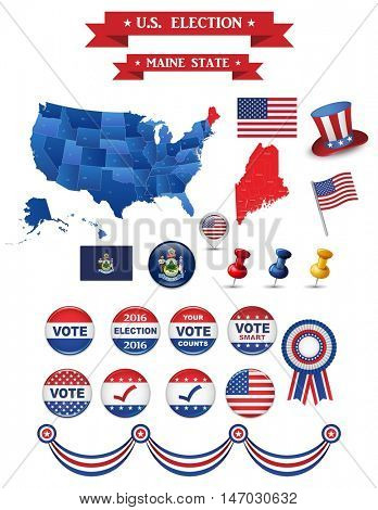 US Presidential Election 2016. Maine State. Includign High Detailed Map of Main. Perfect for Election Camapaign