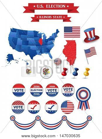 US Presidential Election 2016. Illinois State. Including High Detailed Map of Illinois Perfect for Election Campaign