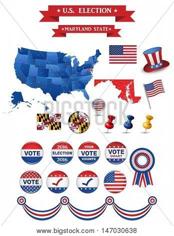 US Presidential Election 2016. Maryland State. Including High Detailed Map of Maryland Perfect for Election Campaign