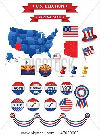 US Presidential Election 2016. Arizona State. Including High Detailed Map of Arizona Perfect for Election Campaign.