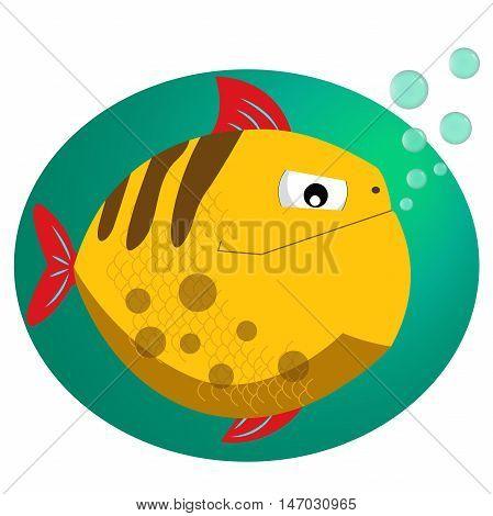 Piranha fish vector illustration with bubbles. Cool cartoon style piranha icon vector format illustration.