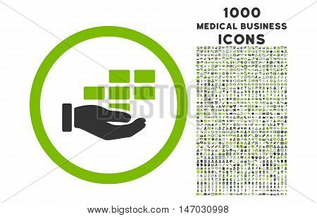 Service Schedule rounded vector bicolor icon with 1000 medical business icons. Set style is flat pictograms, eco green and gray colors, white background.