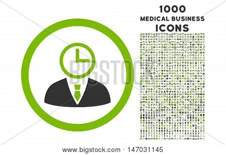 Time Manager rounded vector bicolor icon with 1000 medical business icons. Set style is flat pictograms, eco green and gray colors, white background.