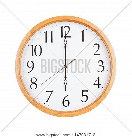 Six o'clock on the large round clock