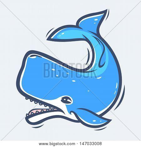 Sperm whale underwater sea life vector illustration