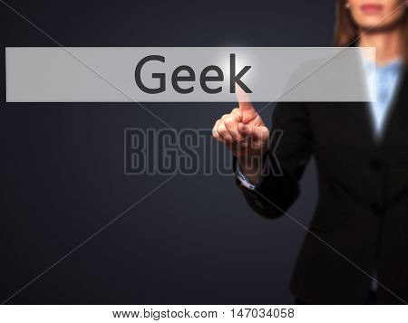 Geek - Businesswoman Pressing High Tech  Modern Button On A Virtual Background