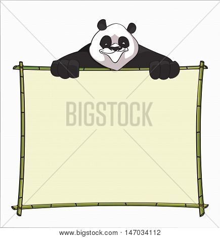 Bamboo Board with Panda. Use for websites, blog's boarder, header or informational boards - stock vector