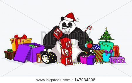 Christmas Sale Panda with a lot of presents, new year's tree and many others accessories. Best for web sale's promotions, advertising, ads and booklets - stock vector