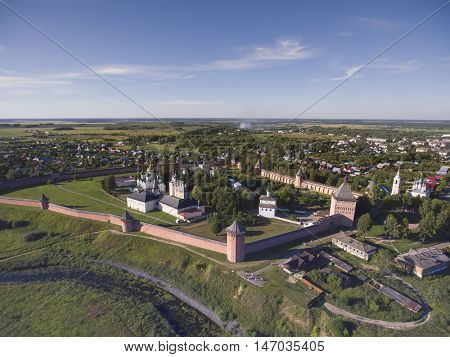 Aerial view on Monastery of Saint Euthymius in the ancient town Suzdal, Golden ring, Russia