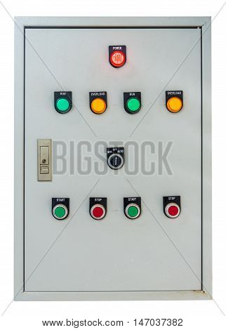 Electrical power control box on white background.