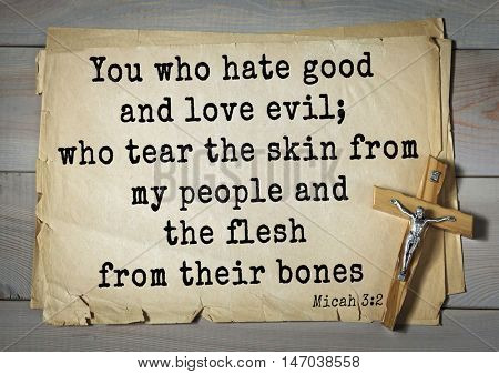 TOP-150 Bible Verses about Love.You who hate good and love evil; who tear the skin from my people and the flesh from their bones