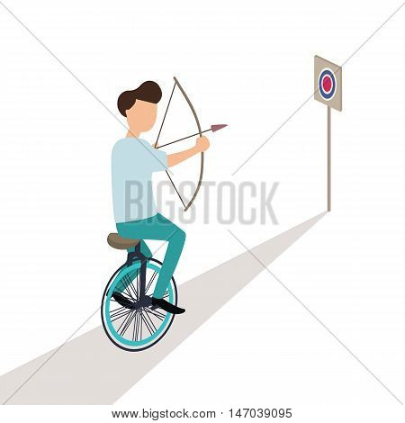 business aiming target while riding cycle trick vector